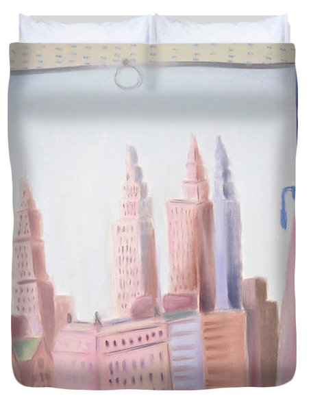 Window On Central Park South Duvet Cover by Tatjana Krizmanic