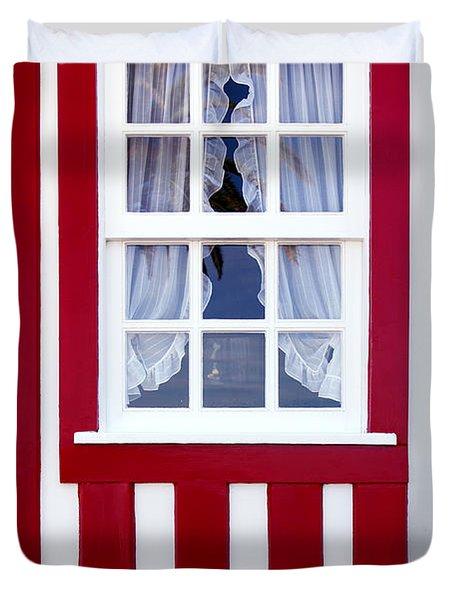Window On Stripes Duvet Cover by Carlos Caetano