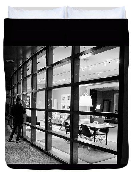 Window Shopping In The Dark Duvet Cover by Melinda Ledsome