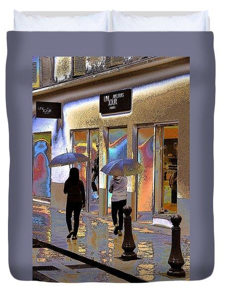 Window Shopping In The Rain Duvet Cover by Ben and Raisa Gertsberg