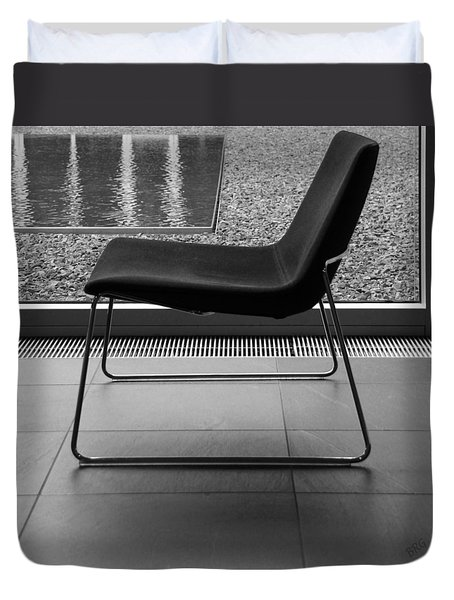 Window View With Chair In Black And White Duvet Cover by Ben and Raisa Gertsberg