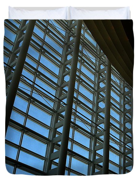Duvet Cover featuring the photograph Window Wall At The Adrienne Arsht Center by Greg Allore