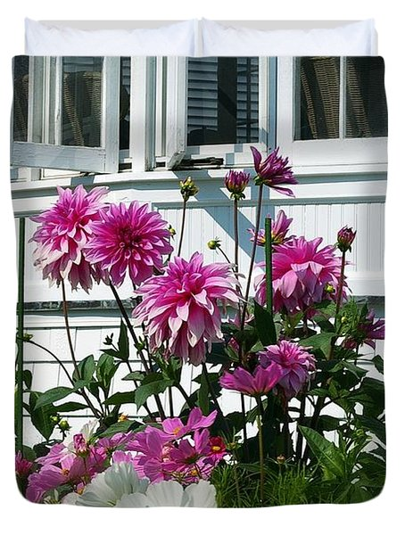 Duvet Cover featuring the photograph Windows And Flowers by Randy Pollard