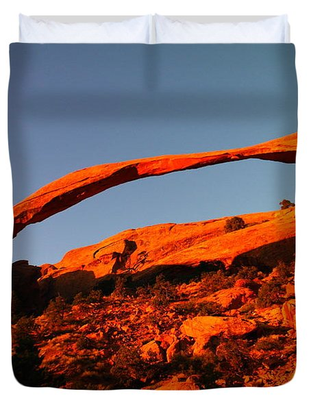 Windows Arch In The Morning Duvet Cover by Jeff Swan