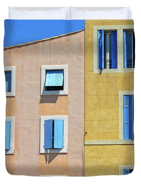 Duvet Cover featuring the photograph Windows Martigues Provence France by Dave Mills