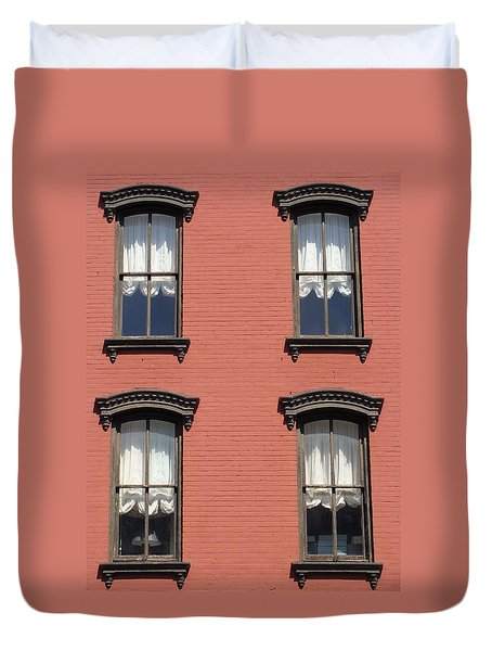 Duvet Cover featuring the photograph Window's Of Hudson Ny by Ira Shander