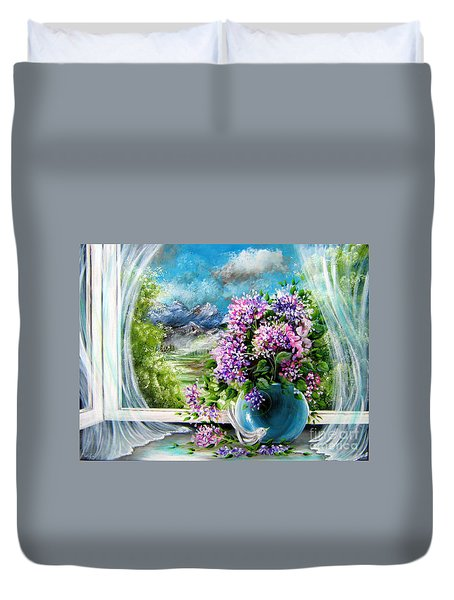 Duvet Cover featuring the painting Windows Of My World by Patrice Torrillo