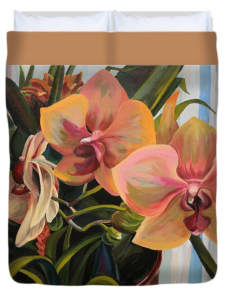 Windowsill Orchids Duvet Cover