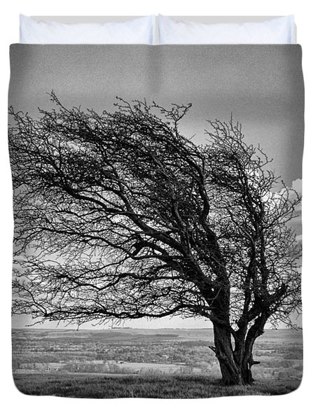 Duvet Cover featuring the photograph Windswept Tree On Knapp Hill by Paul Gulliver