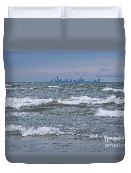 Windy City Skyline Duvet Cover