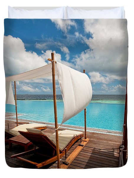 Windy Day At Maldives Duvet Cover by Jenny Rainbow