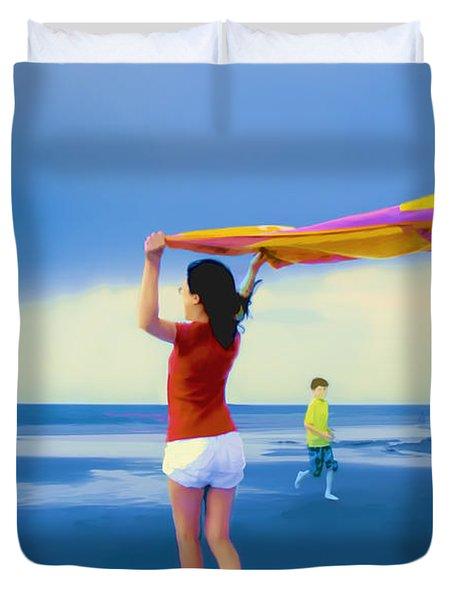 Children Playing On The Beach Duvet Cover by Vizual Studio