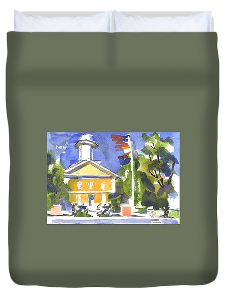 Windy Day At The Courthouse Duvet Cover by Kip DeVore