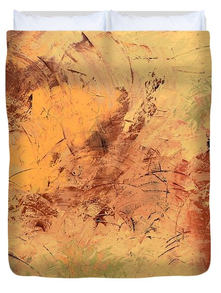 Duvet Cover featuring the painting Windy Day by Linda Bailey