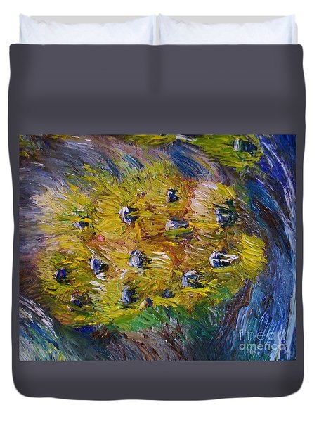 Duvet Cover featuring the painting Windy by Laurie Lundquist