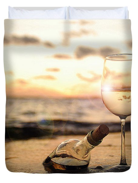 Wine And Sunset Duvet Cover