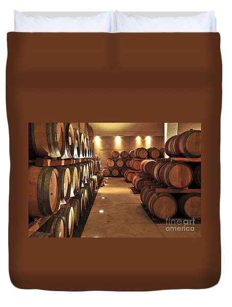 Wine Barrels Duvet Cover