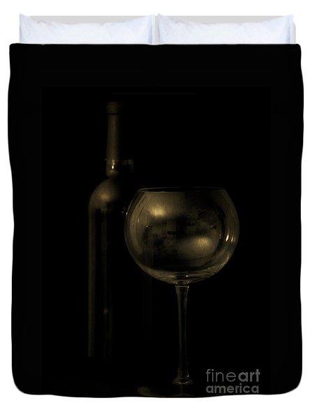 Wine Bottle Still Life Deep Red Duvet Cover by Edward Fielding
