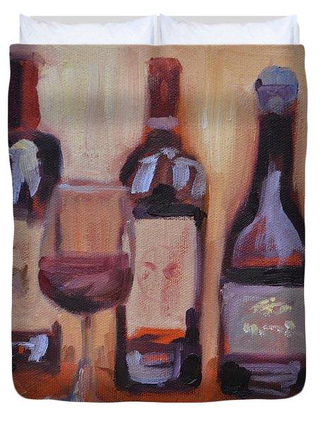 Wine Bottle Trio Duvet Cover by Donna Tuten