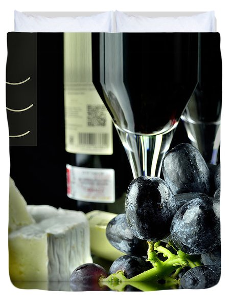 Wine Bottle With Glass Duvet Cover