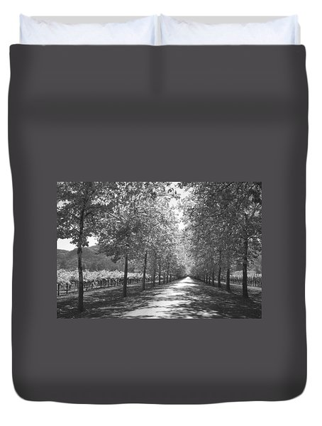 Wine Country Napa Black And White Duvet Cover by Suzanne Gaff