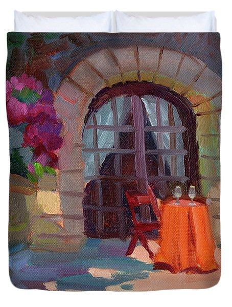 Wine For Two Duvet Cover by Diane McClary