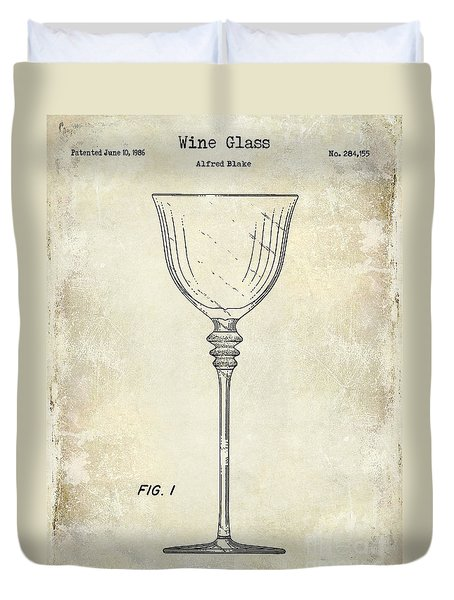 Wine Glass Patent Drawing Duvet Cover