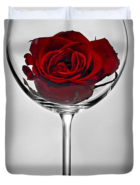 Wine Glass With Rose Duvet Cover