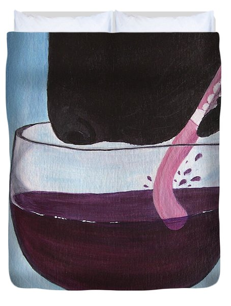 Wine Is Best Shared With Friends - Black Dog Duvet Cover