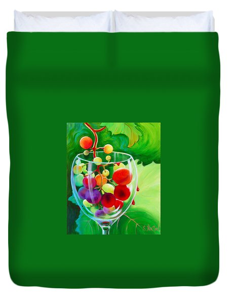 Duvet Cover featuring the painting Wine On The Vine IIi by Sandi Whetzel