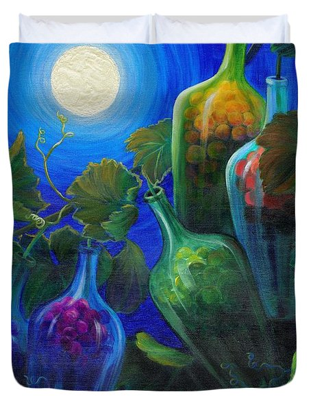 Duvet Cover featuring the painting Wine On The Vine by Sandi Whetzel