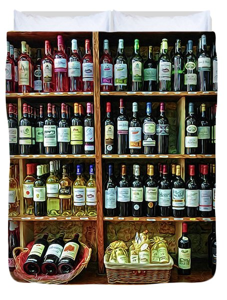 Duvet Cover featuring the photograph Wine Store Provence France by Dave Mills