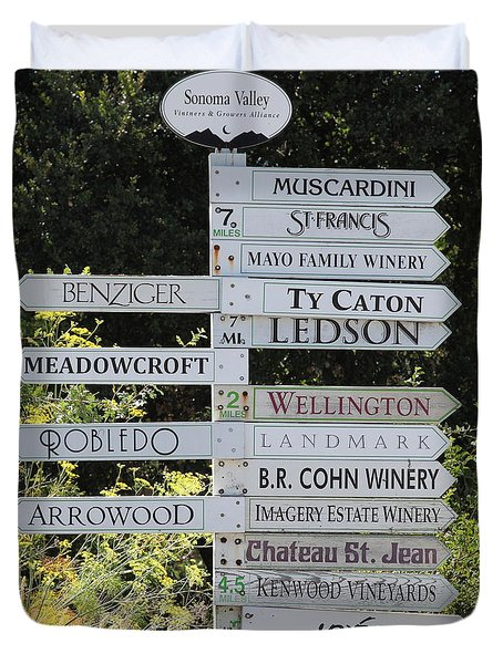 Winery Street Sign In The Sonoma California Wine Country 5d24601 Square Duvet Cover