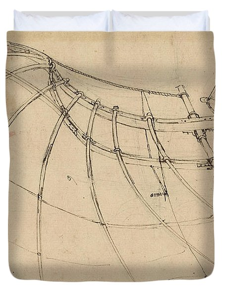 Wing Covered With Cloth And Moved By Means Of Crank Winch Below Right Detail Of Winch Duvet Cover by Leonardo Da Vinci
