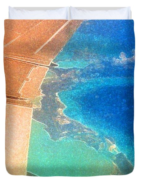 Duvet Cover featuring the photograph Wing Over The Caribbean Aes  by Lyle Crump