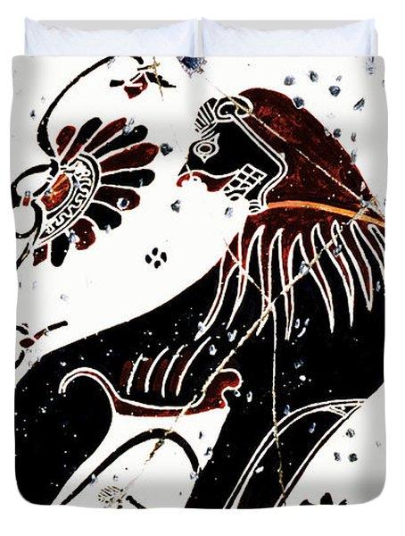 Winged Lion - Detail No. 1 Duvet Cover by Steve Bogdanoff