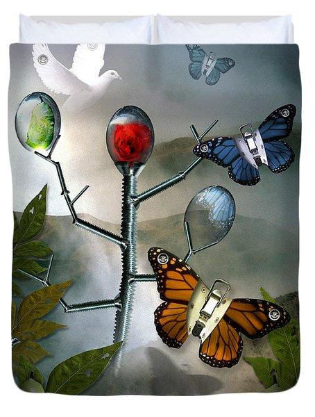 Winged Metamorphose Duvet Cover by Billie Jo Ellis