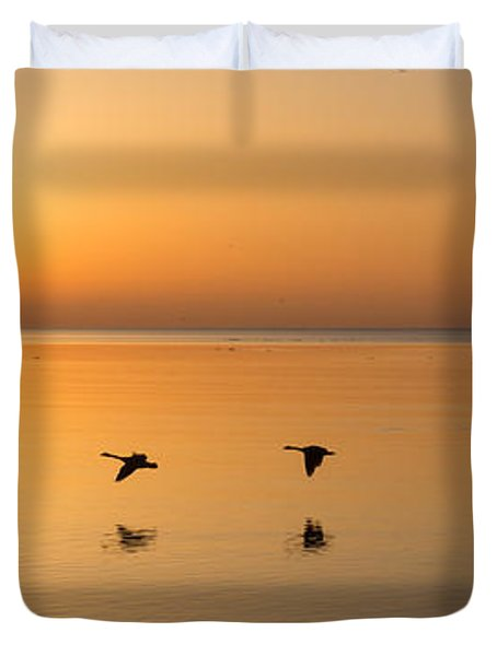 Duvet Cover featuring the photograph Wings At Sunrise by Georgia Mizuleva