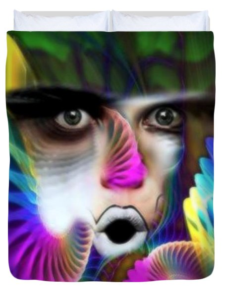 Duvet Cover featuring the painting Wings by Rafael Salazar