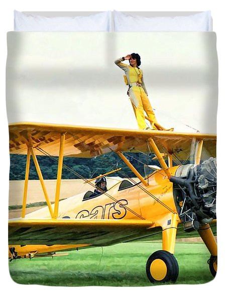 Duvet Cover featuring the photograph Wingwalking by Paul Gulliver