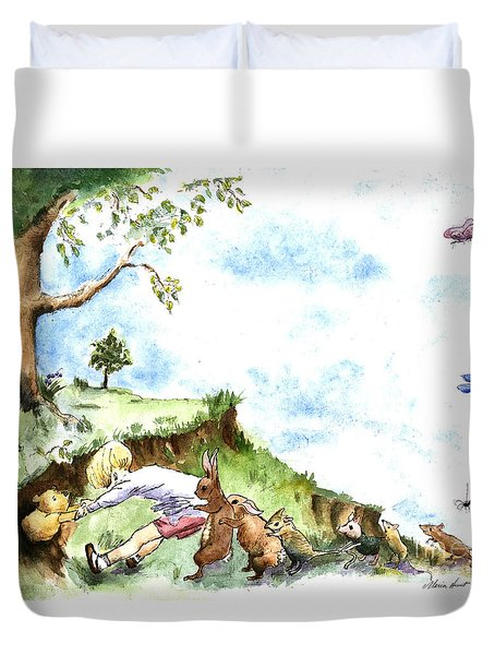 Helping Hands After E H Shepard Duvet Cover