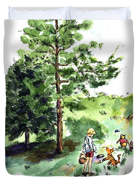 Winnie The Pooh With Christopher Robin After E H Shepard Duvet Cover