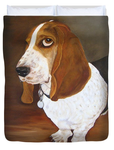 Duvet Cover featuring the painting Winston by Karen Zuk Rosenblatt