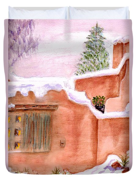 Duvet Cover featuring the painting Winter Adobe by Paula Ayers