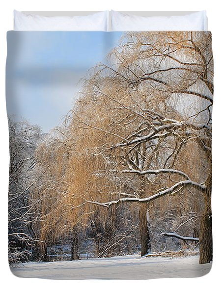 Duvet Cover featuring the photograph Winter Along The River by Nina Silver