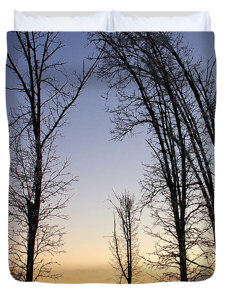Duvet Cover featuring the photograph Winter At Dusk by Randy Pollard