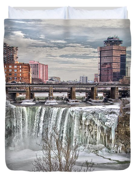 Winter At High Falls Duvet Cover