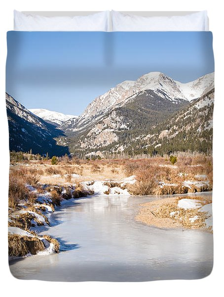 Winter At Horseshoe Park In Rocky Mountain National Park Duvet Cover