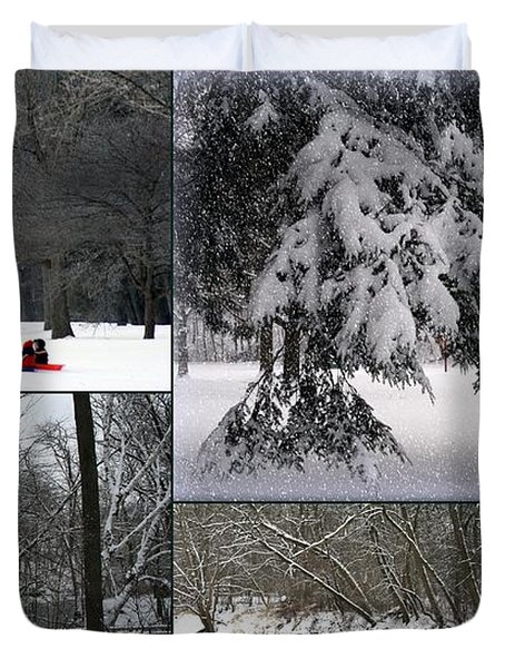 Duvet Cover featuring the photograph Winter At Petrifying Springs Park by Kay Novy
