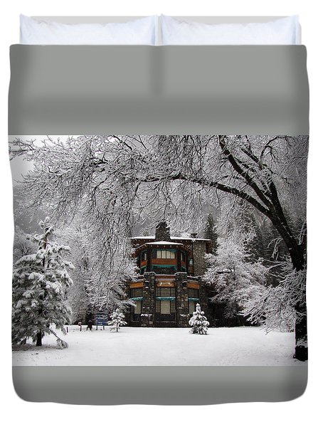 Winter At The Ahwahnee In Yosemite Duvet Cover